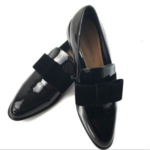 ZARA BLACK LOAFERS WITH VELVET BOW NWT
